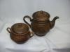"""Чайная пара """"Витязь"""" глиняный (чайник 1,5 л.+сахарница) (литье, декор)"""