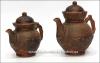 """Чайная пара """"Тиснение"""" глиняная (чайник большой 2,4л.+чайник малый 1,5л.) литье"""