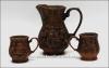 Набор для компота глиняный (кувшин + две чашки)