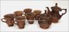 Сервиз чайный глиняный (чайник, сахарница, 6 чашек)  (литье)