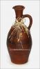 Бутылка глиняная большая винная с ручкой, с украшением (гончарка)