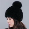 Женская норковая шапка с бубоном. Норковая черная шапка на подкладке