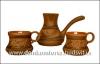 Набор турка и 2 чашки резные глазурь арт. 512