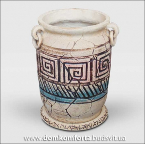 Горшок для цветов из шамотной глины ОРНАМЕНТ
