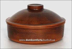 Сковорода с крышкой №2, d=28 см., глиняная (катанка)