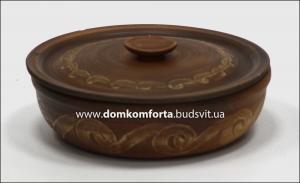 """Сковорода """"Этно"""" d=22 см., глиняная с крышкой (гончарка)"""