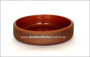 Кеца глиняная с глазурью d=18 см, h=5 см  (гончарка)