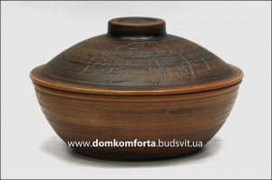 Сковорода с крышкой №1, d=26 см., глиняная (катанка)
