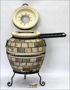 Тандыр  из шамотной глины  №3-С с откидной крышкой, кованным поддувалом и полочкой