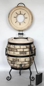 Тандыр из шамотной глины №1-С с откидной крышкой
