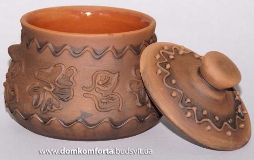 Бульонница глиняная рисованная