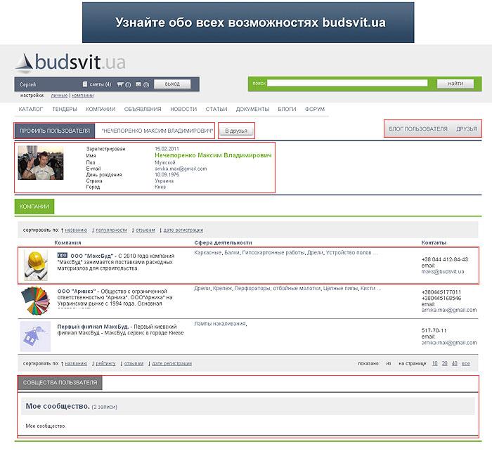 Страница пользователя на budsvit.ua