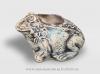 Вазон для цветов из шамотной глины  ЛЯГУШКА