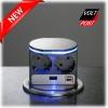 nvb (Германия) Блок розеток VoltPort 2x220 + USB-зарядное. Крышка из нержавеющей стали. LED подсветка