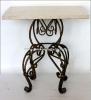 Стол с кованной основой и мраморной столешницей 60х75 см