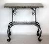 Стол с кованной основой и гранитной столешницей 84х36 см