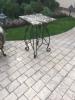 Стол с кованной основой и мраморной столешницей 55х55 см
