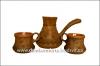 Набор турка и 2 чашки рисованные глазурь арт. 511