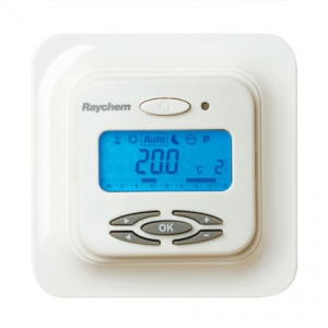 Raychem Термостат R-TC, ЖК дисплей с подсветкой, программируемый, регулирование по температуре пола / воздуха, белый, IP21