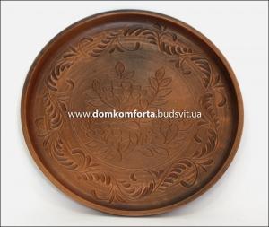 Блюдо d=30 cm., резное, глиняное (катанка)