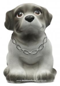 """Копилка """"Собака с цепью"""" гипсовая флокированная"""