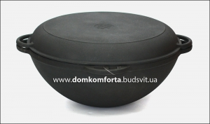 СИТОН Казан чугунный Азиатский 10л с крышкой-сковородой