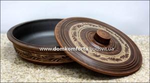 Сковорода с крышкой №3 д=26 см. глиняная