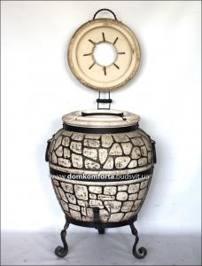 Тандыр  из шамотной глины  №3-С с откидной крышкой