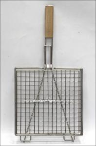 Решетка гриль 30х30 см с деревянной ручкой нержавейка