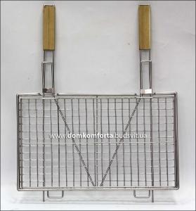 Решетка гриль 30х50 см с двумя ручками нержавейка
