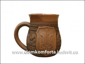 Чашка глиняная резная 500 мл глазурь арт. 630