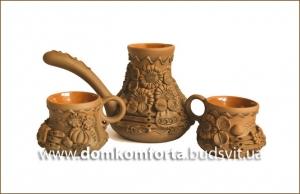 Набор турка и 2 чашки с лепкой глазурь арт. 510