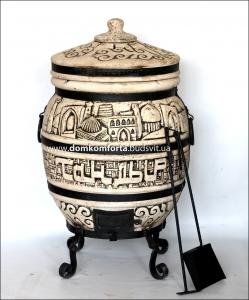 Тандыр  из шамотной глины  №4-С Город с кованным поддувалом