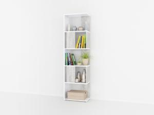 Книжный стеллаж в цвете бетон/белый