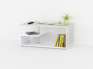 """Журнальный стол """"S"""" в цвете белый/бетон"""