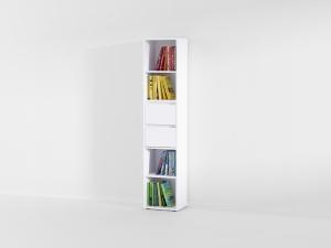 Книжная полка с 2 выдвижными ящиками в белом цвете