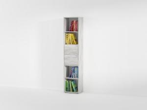 Книжная полка с 2 выдвижными ящиками в цвете бетон